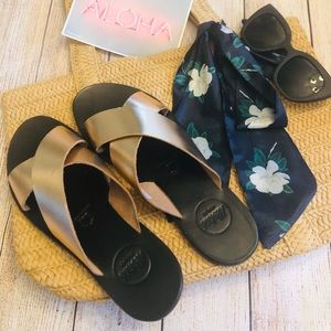 ALOHA Sophia Rose Gold Slip on Sandals NIB